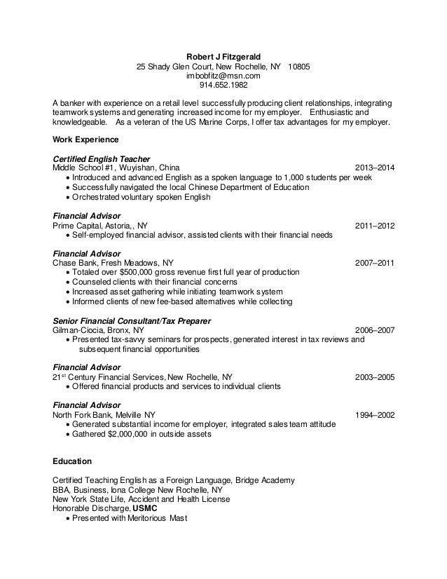 Fitzgerald Resume May 2015
