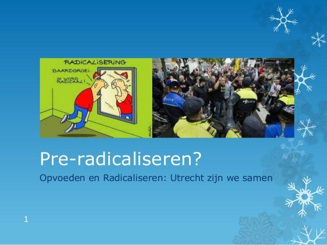 Pre-radicaliseren? Opvoeden en Radicaliseren: Utrecht zijn we samen 1