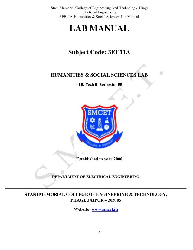 Stani Memorial College of Engineering And Technology, Phagi Electrical Engineering 3EE11A Humanities & Social Sciences Lab...