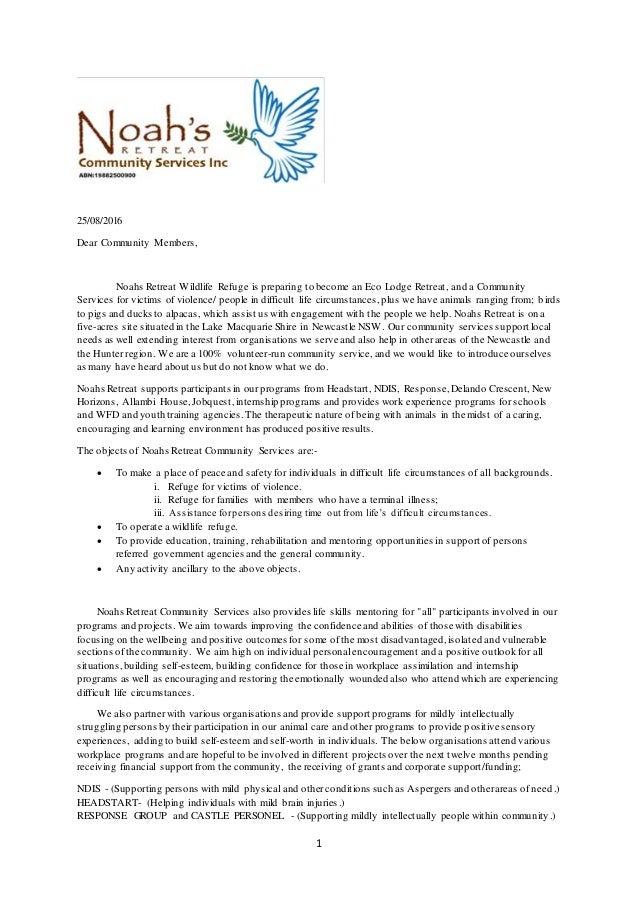 Noah's Retreat draft letter