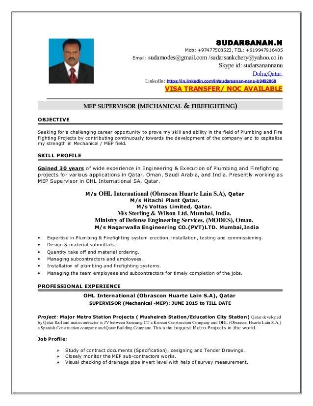 MEP SUPERVISOR - SUDARSANAN