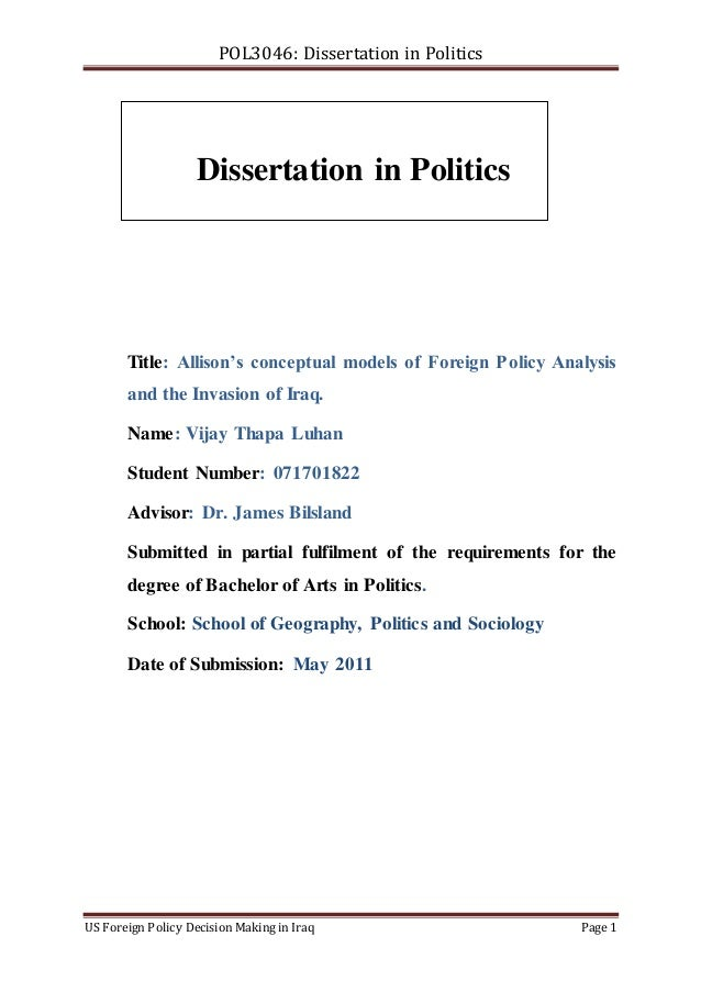 Dissertation doing in politics