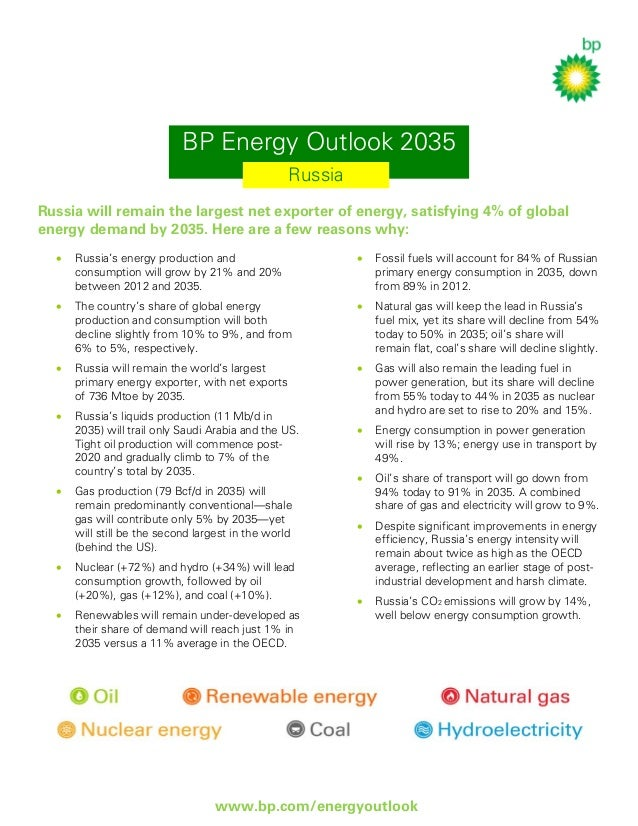 BP Energy Outlook 2035 Russia Russia will remain the largest net exporter of energy, satisfying 4% of global energy demand...