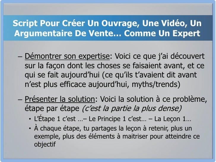 Script Pour Créer Un Ouvrage, Une Vidéo, Un Argumentaire De Vente… Comme Un Expert<br />Démontrer son expertise: Voici ce ...