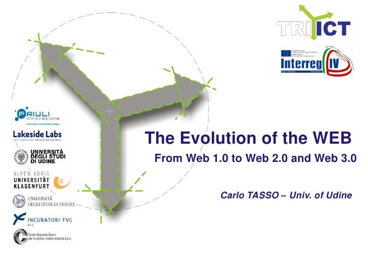 The Evolutionof the WEB<br />From Web 1.0 to Web 2.0 and Web 3.0<br />Carlo TASSO – Univ. of Udine<br />