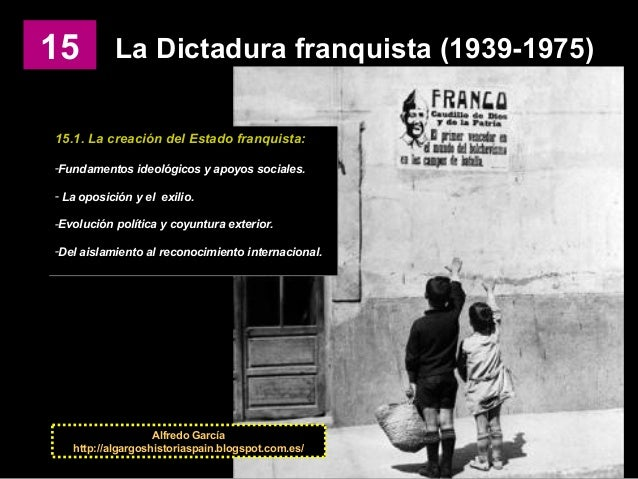 15 La Dictadura franquista (1939-1975) 15.1. La creación del Estado franquista: -Fundamentos ideológicos y apoyos sociales...
