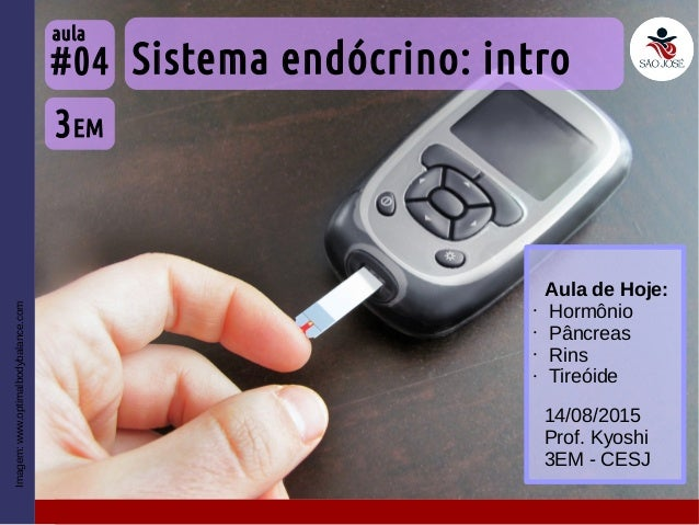 Imagem:www.optimalbodybalance.com Sistema endócrino: intro 3EM #04 aula 14/08/2015 Prof. Kyoshi 3EM - CESJ Aula de Hoje: •...