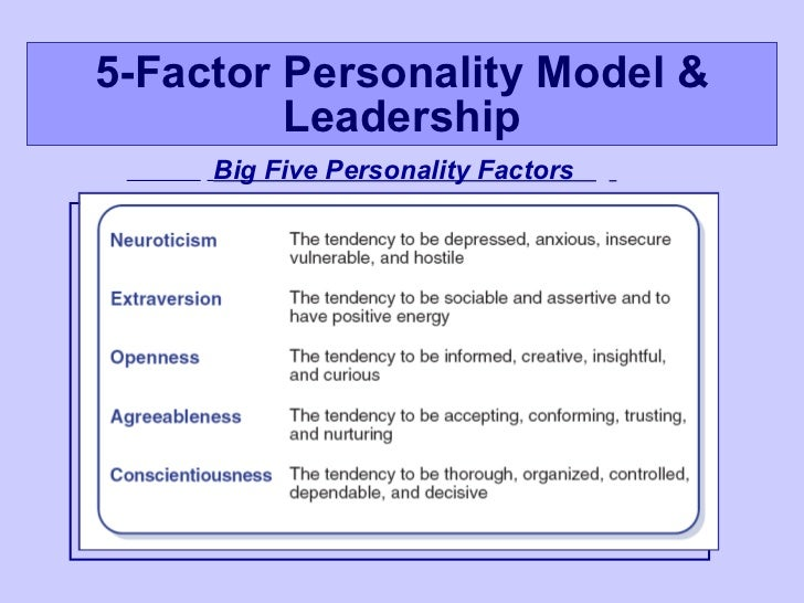 big five model of leadership The 'five factor model' is a model of personality that uses five separate factors to describe an individual's character refined by goldberg (1990) and developed into the widely used 300 item neo-pi r personality inventory by costa & mccrae (1985), according to this theory when an individual.