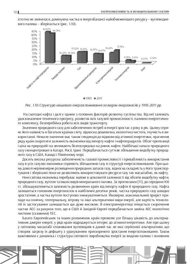 10 ЕНЕРГОЕФЕКТИВНІСТЬ В МУНІЦИПАЛЬНОМУ СЕКТОРІ істотно не змінилася, домінуюча частка в енергобалансі найобмеженішого ресу...