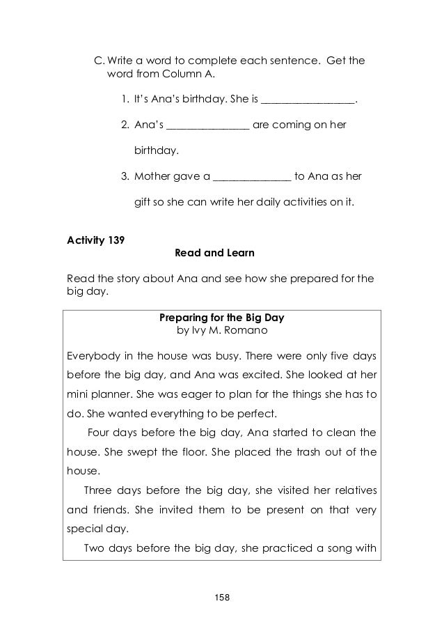 Complete the sentences to write a short text