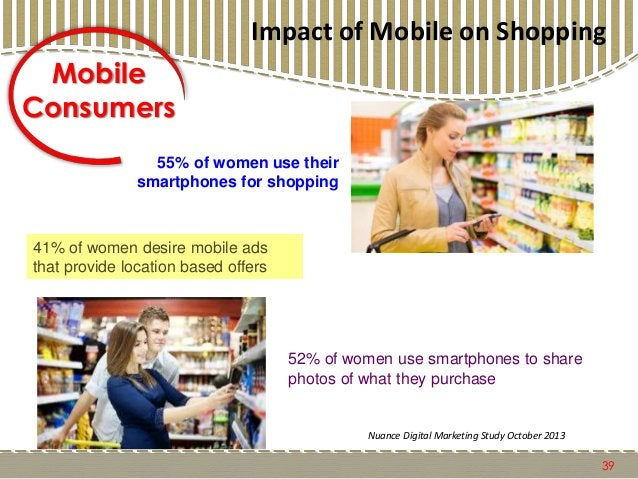 39 Mobile Consumers 55% of women use their smartphones for shopping 41% of women desire mobile ads that provide location b...