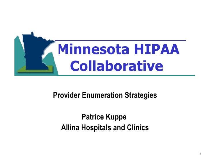 Minnesota HIPAA Collaborative   Provider Enumeration Strategies Patrice Kuppe  Allina Hospitals and Clinics