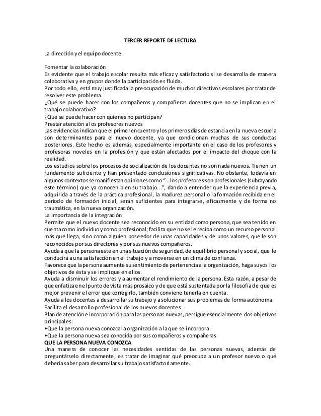TERCER REPORTE DE LECTURA La direcciónyel equipodocente Fomentar la colaboración Es evidente que el trabajo escolar result...