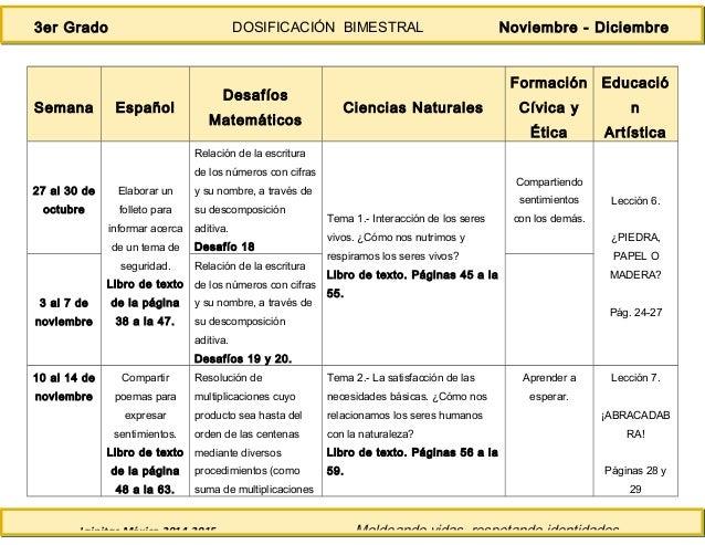 Lainitas México 2014-2015 Moldeando vidas, respetando identidades. 3er Grado DOSIFICACIÓN BIMESTRAL Noviembre - Diciembre ...