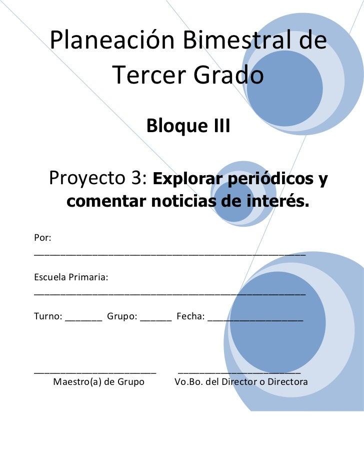 3er grado   bloque 3 - proyecto 3