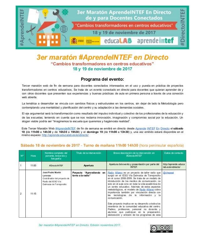 """3er maratón #AprendeINTEF en Directo """"Cambios transformadores en centros educativos"""" 18 y 19 de no..."""