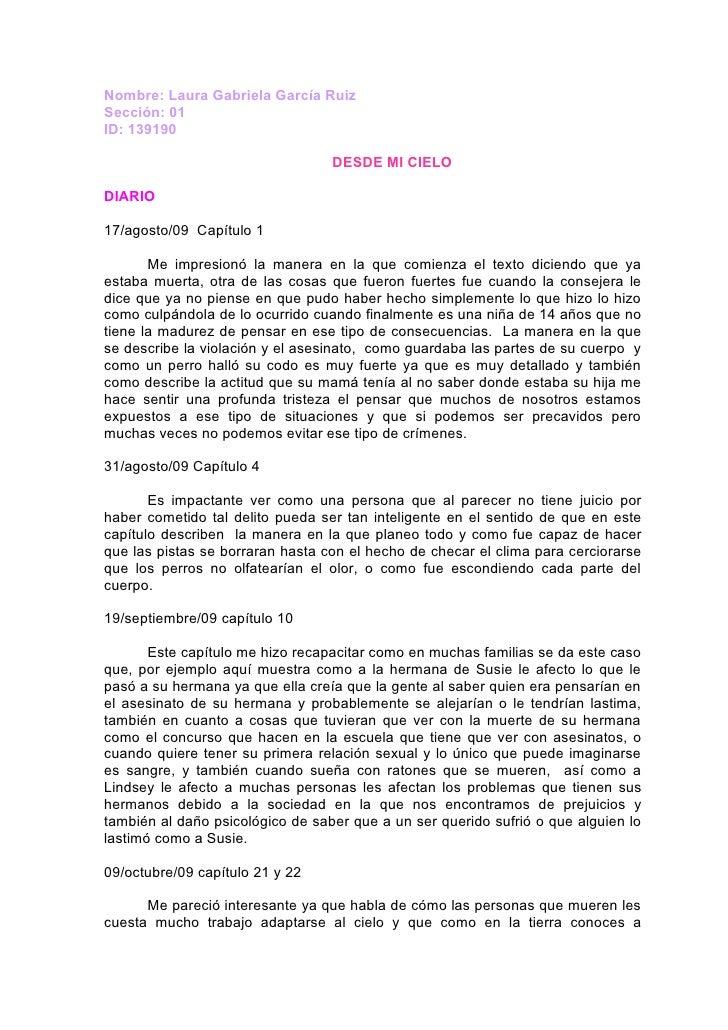Nombre: Laura Gabriela García Ruiz Sección: 01 ID: 139190                                    DESDE MI CIELO  DIARIO  17/ag...