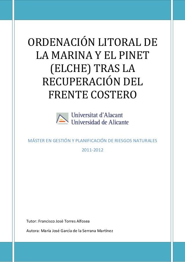 ORDENACIÓN LITORAL DELA MARINA Y EL PINET(ELCHE) TRAS LARECUPERACIÓN DELFRENTE COSTEROMÁSTER EN GESTIÓN Y PLANIFICACIÓN DE...