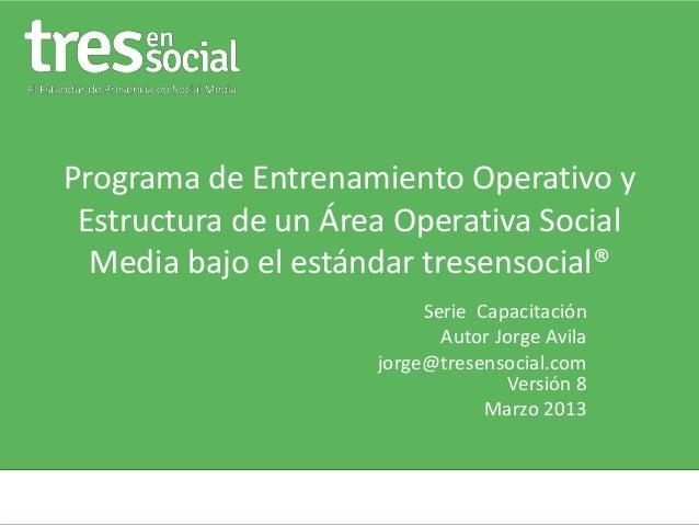 Programa de Entrenamiento Operativo y Estructura de un Área Operativa Social Media bajo el estándar tresensocial® Serie Ca...
