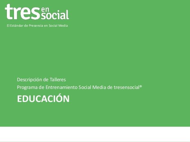 El Estándar de Presencia en Social Media  Descripción de Talleres Programa de Entrenamiento Social Media de tresensocial® ...