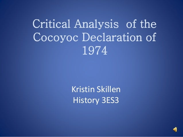 Kristin Skillen History 3ES3 Critical Analysis of the Cocoyoc Declaration of 1974