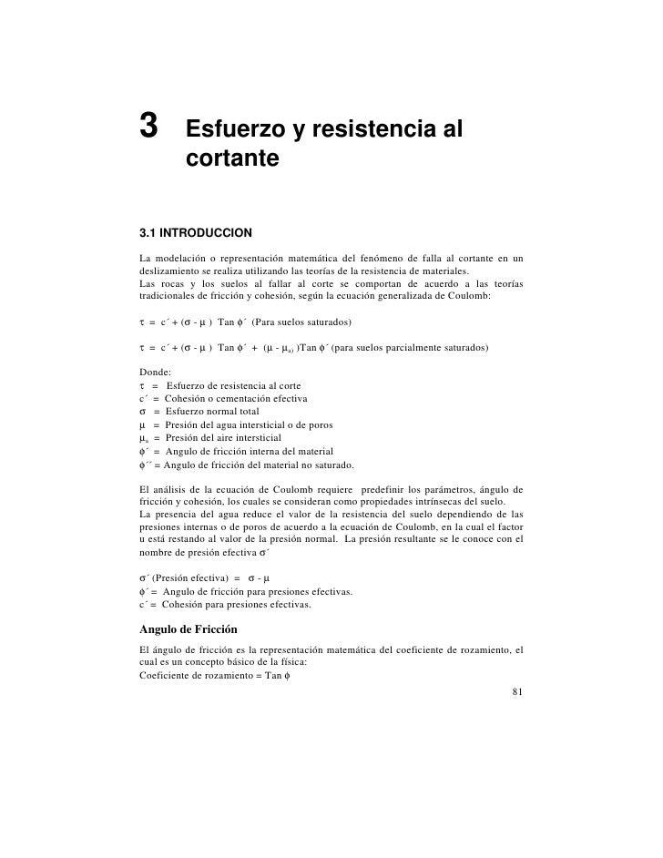 3         Esfuerzo y resistencia al          cortante3.1 INTRODUCCIONLa modelación o representación matemática del fenómen...