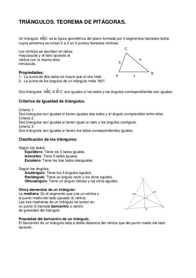 TRIÁNGULOS. TEOREMA DE PITÁGORAS.  Un triángulo  Δ  ABC es la figura geométrica del plano formada por 3 segmentos llamados...