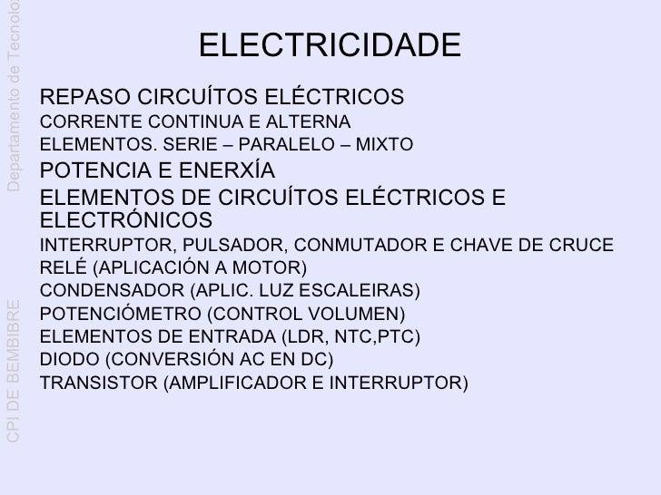 Departamento de Tecnolo                                          ELECTRICIDADE                           REPASO CIRCUÍTOS ...