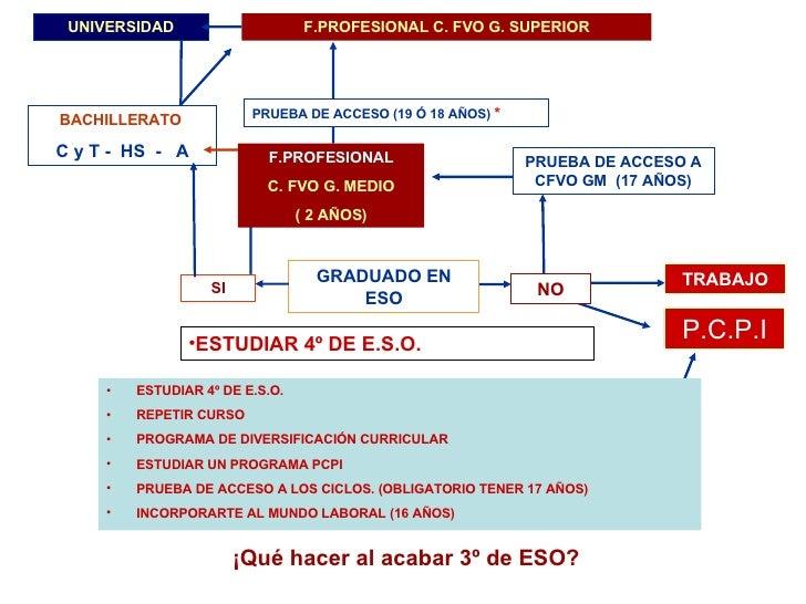 PRUEBA DE ACCESO A CFVO GM  (17 AÑOS) P.C.P.I TRABAJO BACHILLERATO  C y T -  HS  -  A F.PROFESIONAL C. FVO G. SUPERIOR UNI...