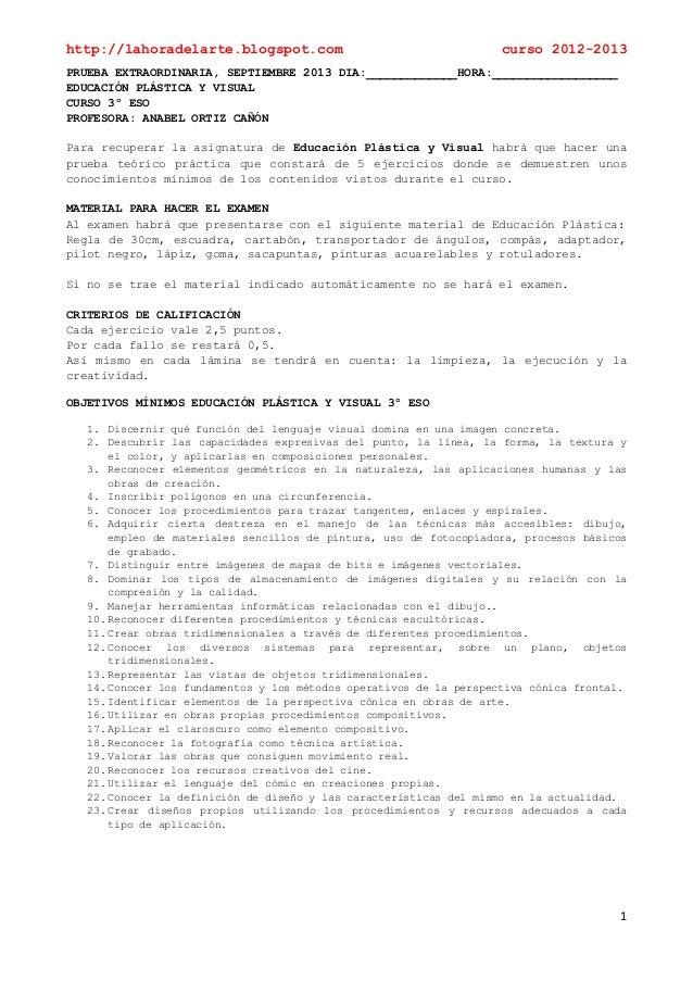 http://lahoradelarte.blogspot.com curso 2012-20131PRUEBA EXTRAORDINARIA, SEPTIEMBRE 2013 DIA:_____________HORA:___________...