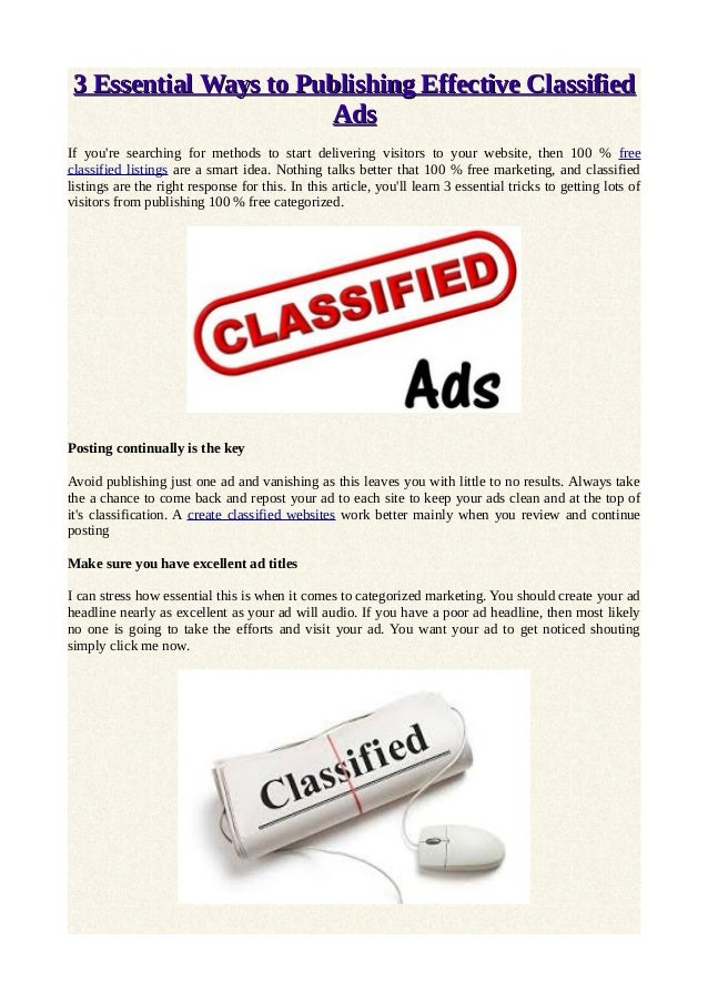 Using Different Titles On Your Classified Ads