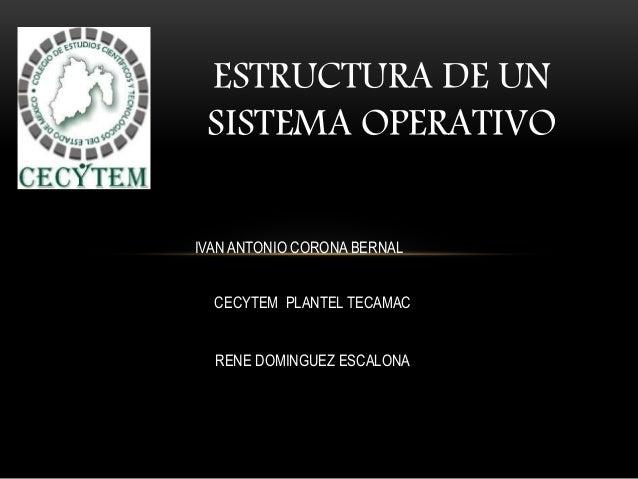 ESTRUCTURA DE UN SISTEMA OPERATIVO IVAN ANTONIO CORONA BERNAL CECYTEM PLANTEL TECAMAC RENE DOMINGUEZ ESCALONA