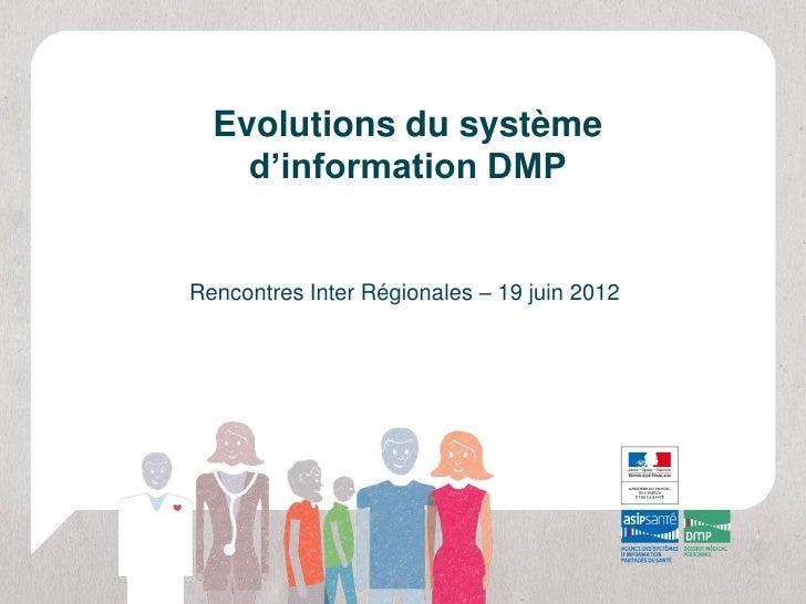 Evolutions du système    d'information DMPRencontres Inter Régionales – 19 juin 2012