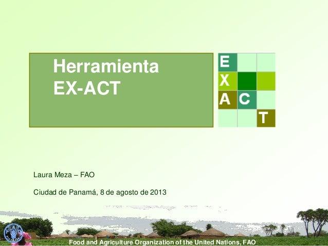 Food and Agriculture Organization of the United Nations, FAO Laura Meza – FAO Ciudad de Panamá, 8 de agosto de 2013 Herram...
