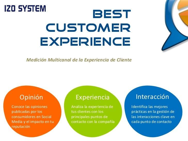 Medición Multicanal de la Experiencia de Cliente Opinión Conoce las opiniones publicadas por los consumidores en Social Me...
