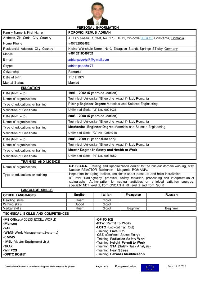 cv field mechanical and piping engineer