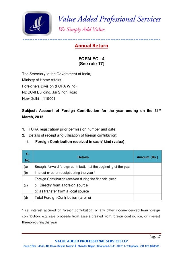 Guide to Foreign Contribution (Regulation) Act, 2010(FCRA) - Amended …