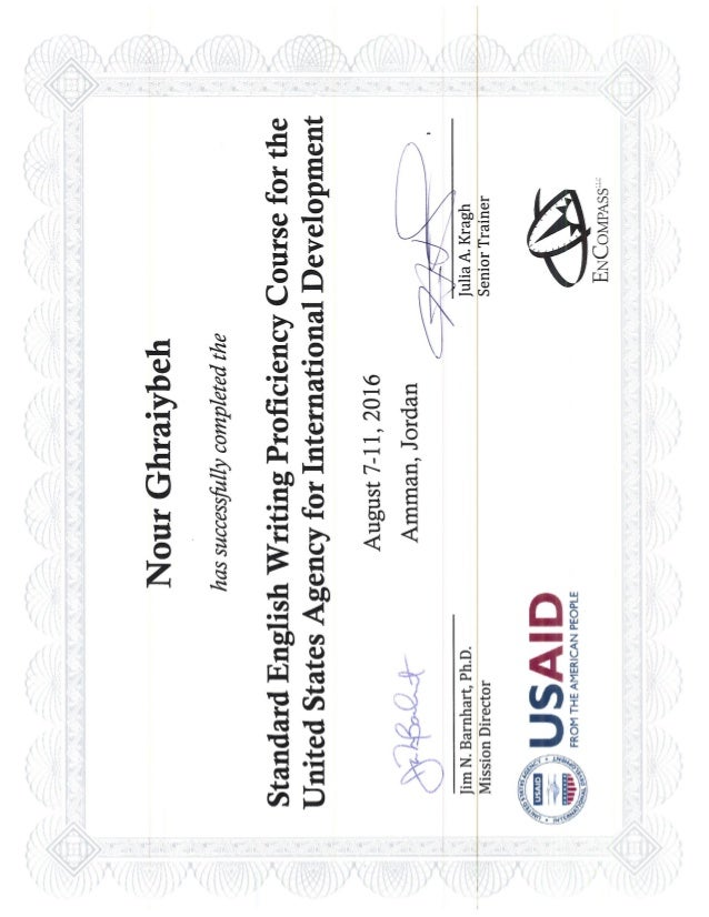 ENGLISH WRITING PROFICIENCY COURSE CERTIFICATE