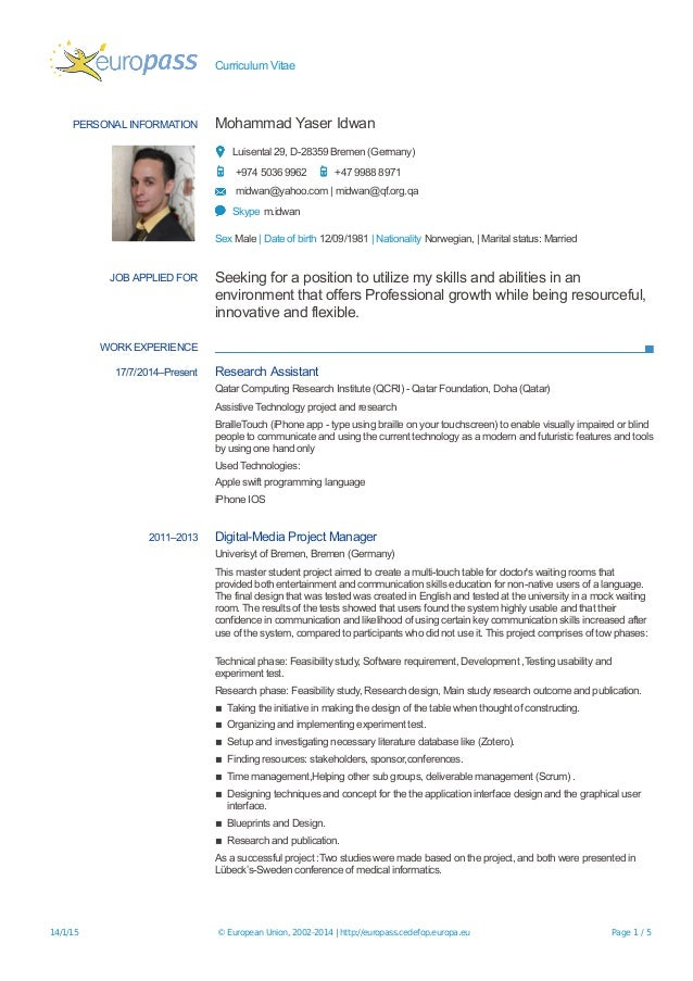 curriculum vitae europass germana