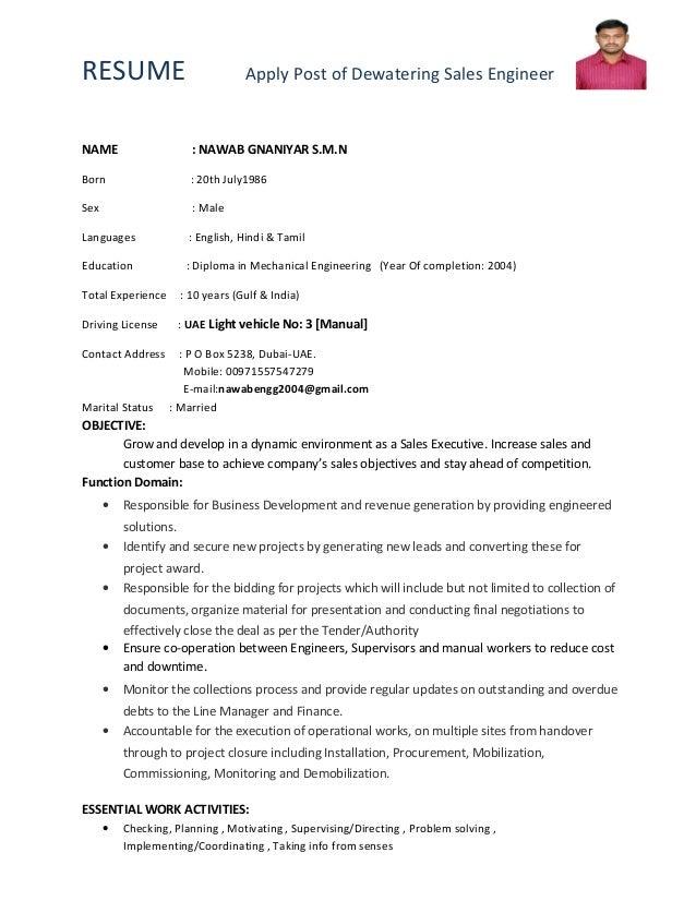 resume apply post of dewatering sales engineername nawab gnaniyar s