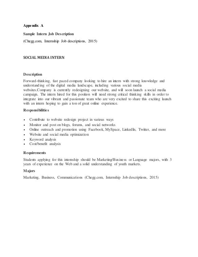 12. Appendix A Sample Intern Job Description ...