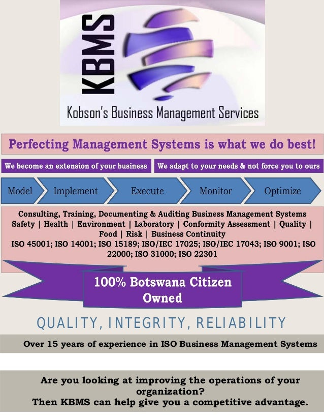 QUALITY, INTEGRITY, RELIABILITY Over 15 years of experience in ISO Business Management Systems Are you looking at improvin...