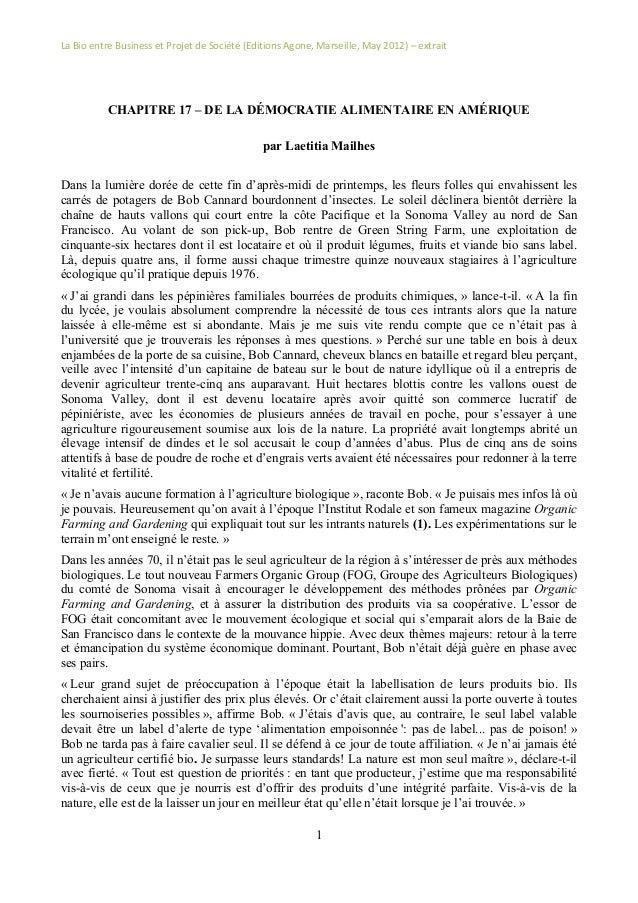 La  Bio  entre  Business  et  Projet  de  Société  (Editions  Agone,  Marseille,  May  2012)  –...