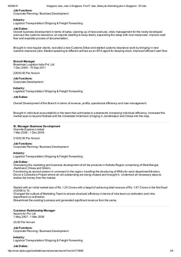 customer service freight forwarding resume