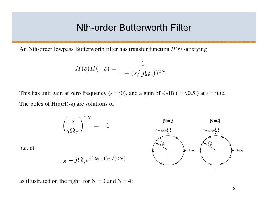 Basics of analogue filters for Table th nth