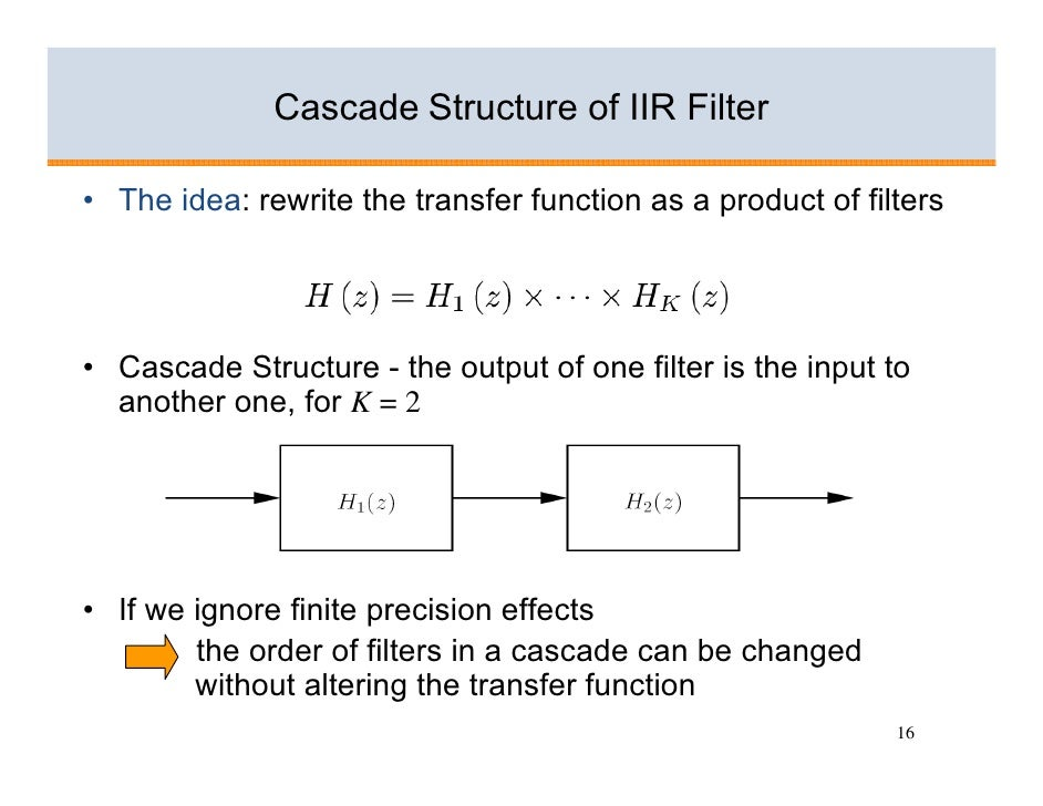 Cascade Structure of IIR Filter  • The idea: rewrite the transfer function as a product of filters     • Cascade Structure...