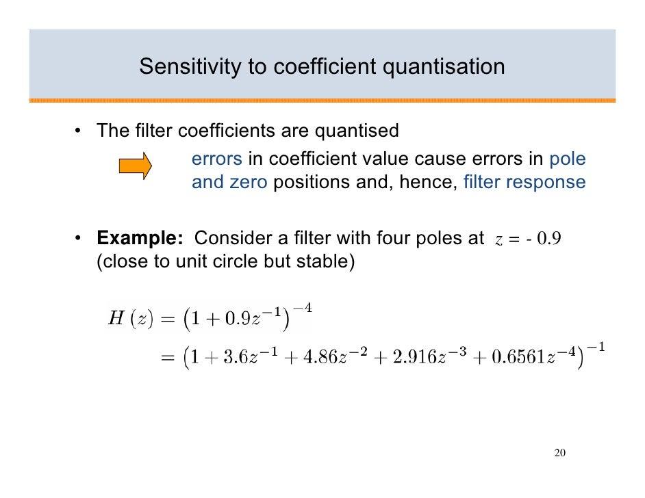 Sensitivity to coefficient quantisation  • The filter coefficients are quantised               errors in coefficient value...