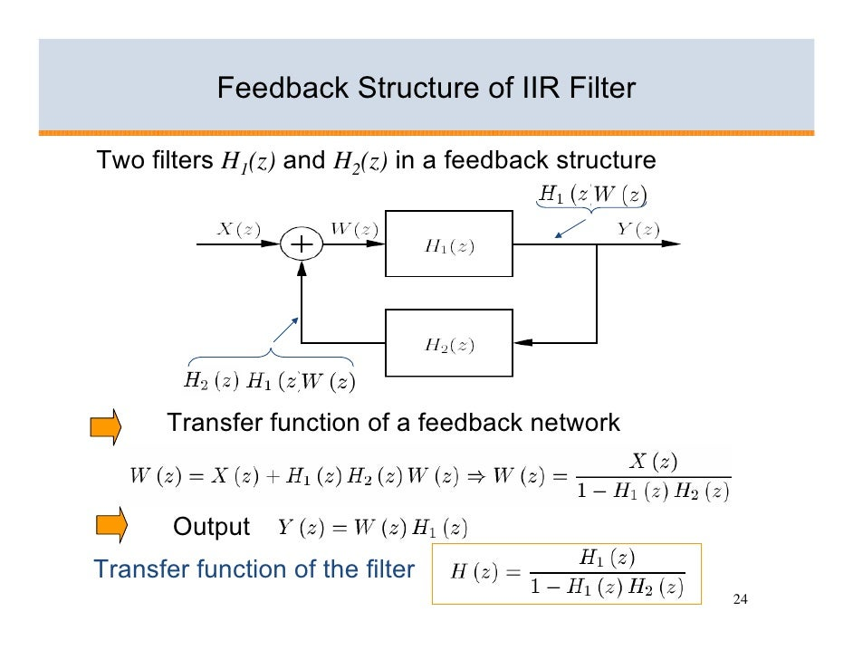Feedback Structure of IIR Filter  Two filters H1(z) and H2(z) in a feedback structure            Transfer function of a fe...