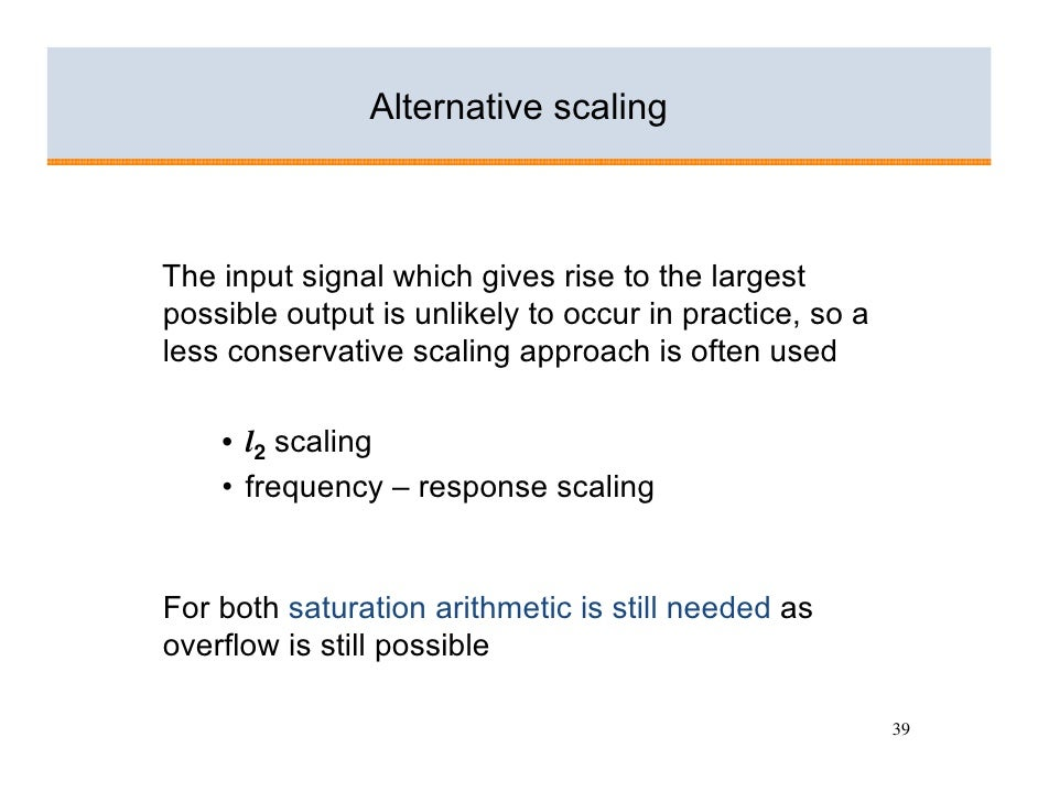 Alternative scaling    The input signal which gives rise to the largest possible output is unlikely to occur in practice, ...
