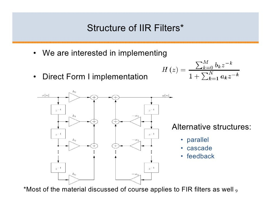 Structure of IIR Filters*     • We are interested in implementing     • Direct Form I implementation                      ...
